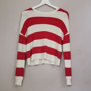 Red and white long sleeved